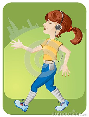 Running girl with headphones