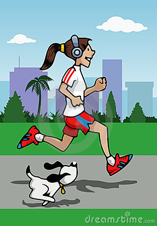 Running girl with headphones and dog