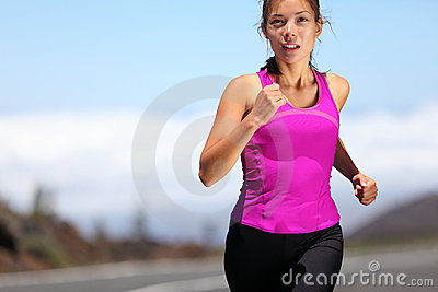 Running girl runner training for marathon