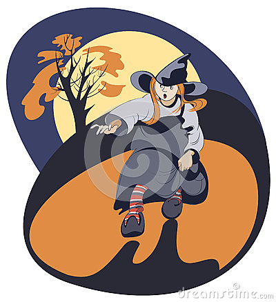 Running girl in witch costume