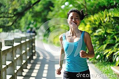 running in green garden