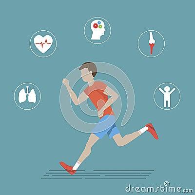 Running Health Infographics Vector Illustration