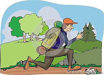 Running hiker - vacation