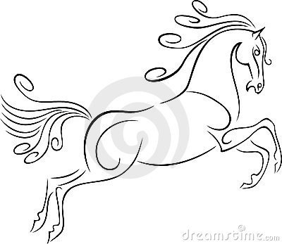 Running Horse With Rider Outline