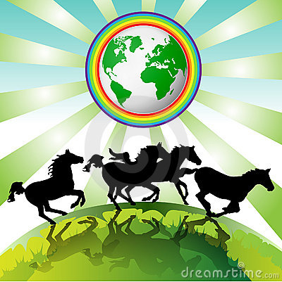 Running horses, Eco Earth