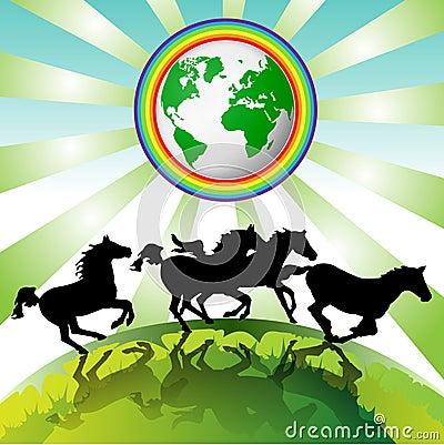 Running horses, Eco Earth