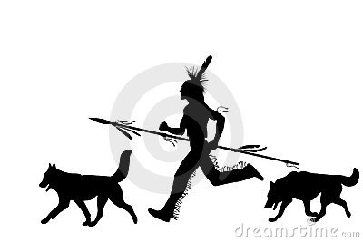 Running Indian Man With A Weapon And Dogs Stock Image - Image: 19335711