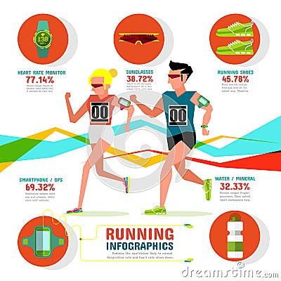 Running Infographics Vector Illustration