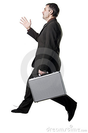 Running or jumping businessman