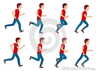 Running Man Animation Sprite Set. 8 Frame Loop. Vector Illustration