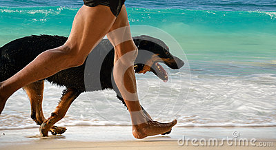 Running man, dog on morning beach