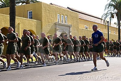 Running Marines Editorial Stock Image