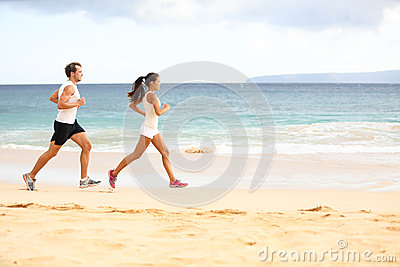 Running people - woman and man athlete runners