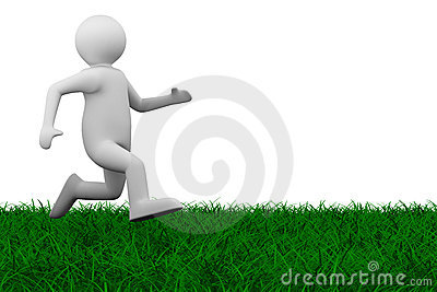 Running person on grass
