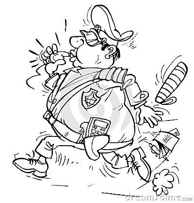 Running policeman