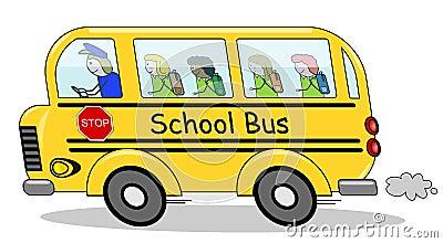 Running School Bus Children