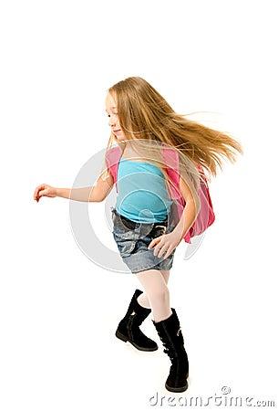 Running school girl