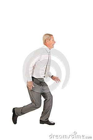 Running senior business man