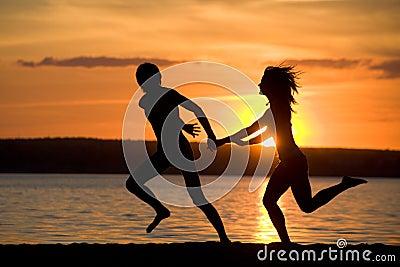 Running on the shore