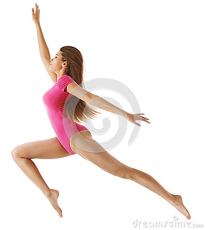 Free Running Sport Woman, Sexy Girl In Long Jump, Gymnast Leotard On White Royalty Free Stock Photo - 57472895