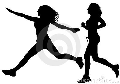 Running sport woman silhouette vector