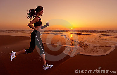 Running and sunset