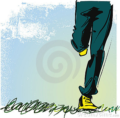 Running teenager illustration