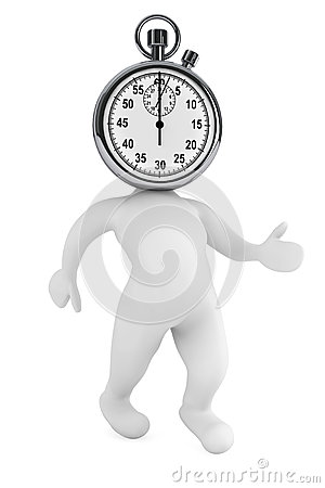 Running time concept. 3d person as stopwatch