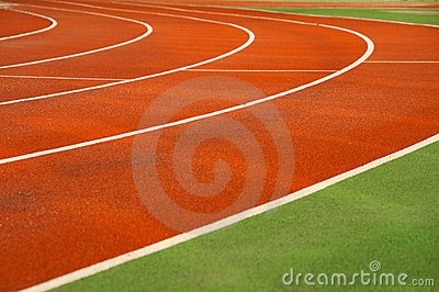 Running tracks in a sports area