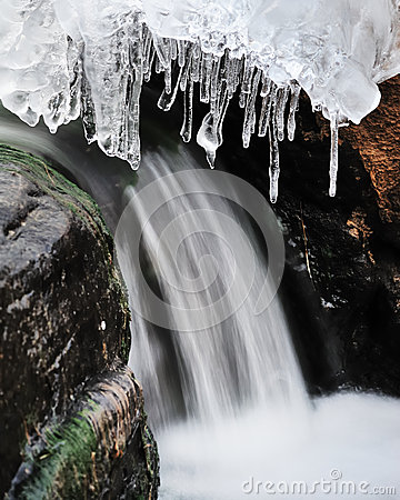 Running waterfall and ice