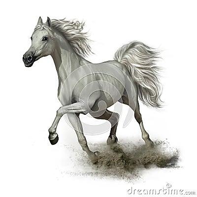 Free Running White Horse Royalty Free Stock Photo - 108271505