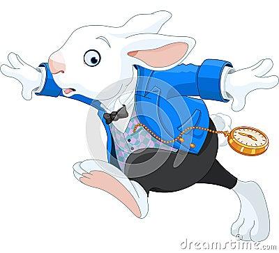 Free Running White Rabbit Stock Image - 39085491