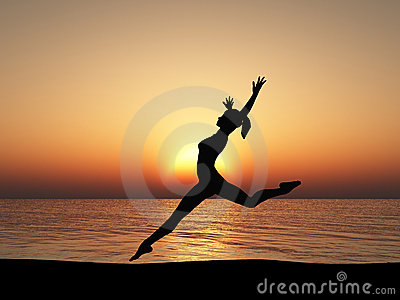 The running woman on coast of ocean