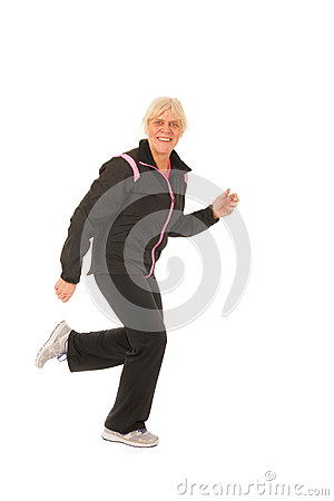 Running woman of mature age