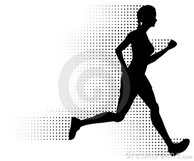 Running Woman Silhouette & Halftone Trail