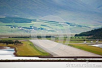 View of airport runway from sea, Akureyri - Iceland