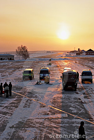 Runway of Irkutsk airport.