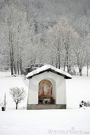 Rural chapel in winter