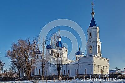 Rural church on a decline. Winter