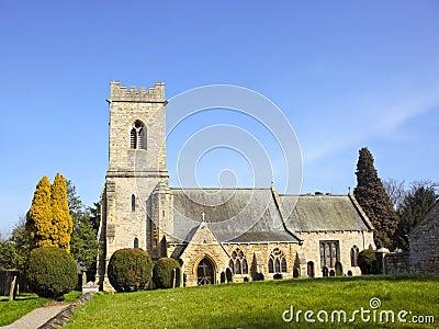 Rural church in springtime