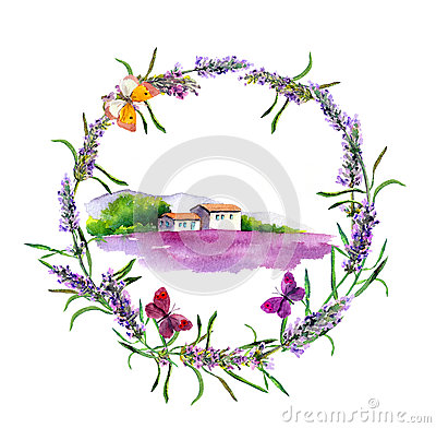 Free Rural Farm - Provencal House, Lavender Flowers Field In Provence. Watercolor Stock Photos - 91314653