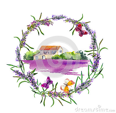 Free Rural Farm - Provencal House, Lavender Flowers Field In Provence. Watercolor Stock Images - 92865774
