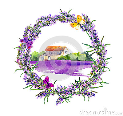 Free Rural Farm - Provencal House, Lavender Flowers Field. Watercolor Stock Image - 89744991