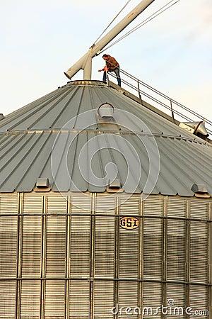 Rural Grain Worker On Top Of Metal Silo Editorial Photo