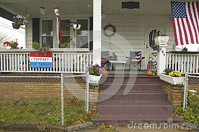 A rural house with American flag Editorial Photo