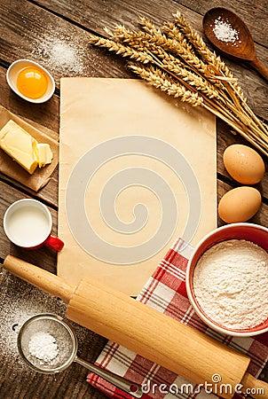 Free Rural Kitchen Baking Cake Ingredients And Blank Paper - Background Stock Photos - 44832723