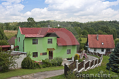 Rural landscape in Czech with farmhouse