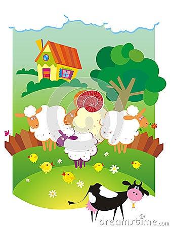 Rural landscape with farm animals.