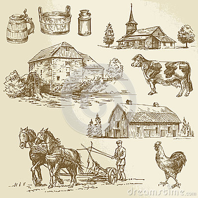 Free Rural Landscape, Farm, Hand Drawn Watermill Royalty Free Stock Images - 42075769