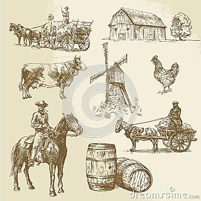 Rural landscape, farm, hand drawn windmill